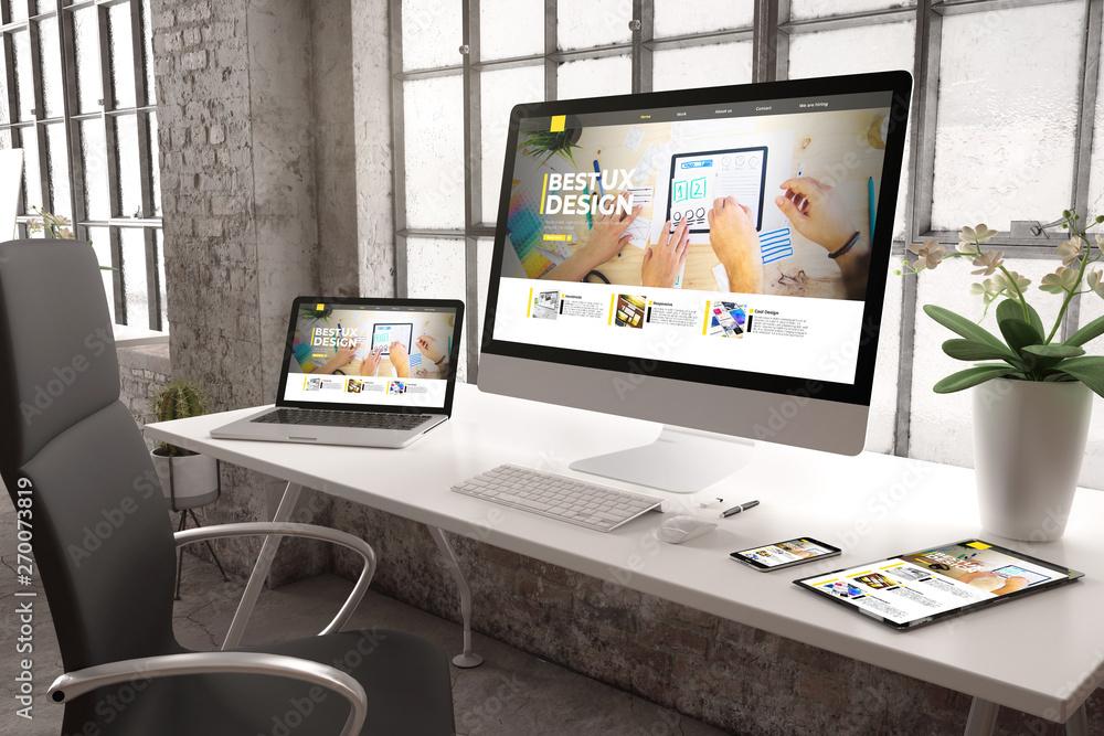 Fototapeta industrial office mockup ux design website