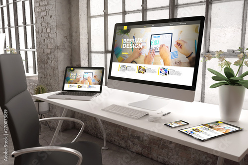 industrial office mockup ux design website - fototapety na wymiar