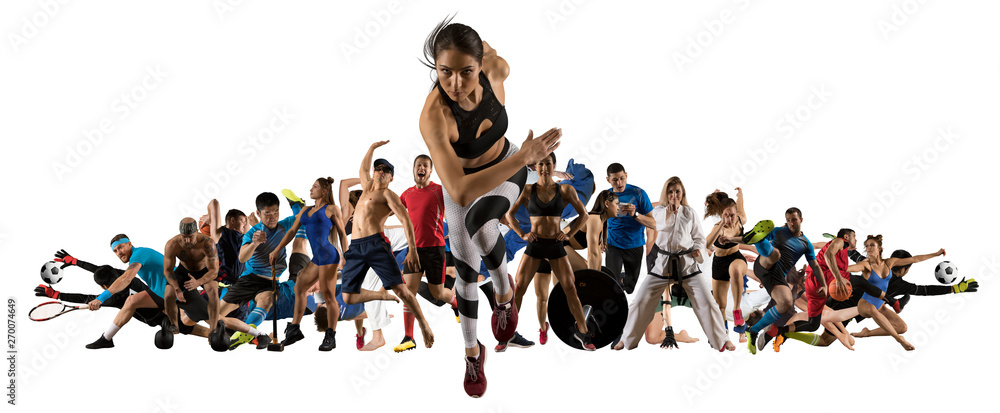 Fototapety, obrazy: Sport collage. Tennis, soccer, taekwondo, bodybuilding, MMA fighter and basketball players
