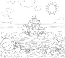 Funny Ship Floating In Water And Other Baby Toys On Sand Of A Sea Beach On A Sunny Summer Day, Black And White Vector Illustration In A Cartoon Style For A Coloring Book