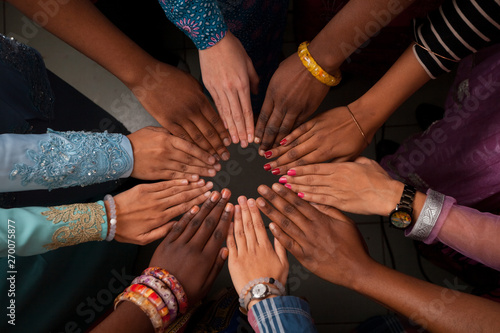 Hands of happy group of African people which stay together in circle Tapéta, Fotótapéta