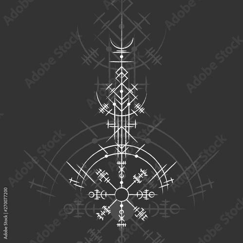 Dark background with white grunge magic symbol Canvas Print