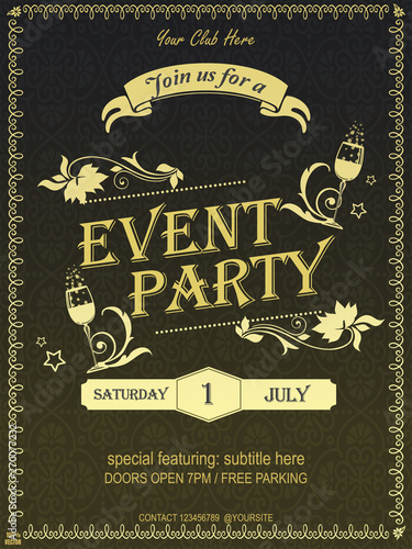 Yellow Ornate Vintage Event Invitation Card Design Or Poster