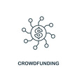 Crowdfunding icon outline style. Thin line design from fintech icons collection. Pixel perfect crowdfunding icon for web design, apps, software, print usage
