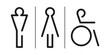 Symbole WC wektor. Kobiety, mężczyźni, niepełnosprawni