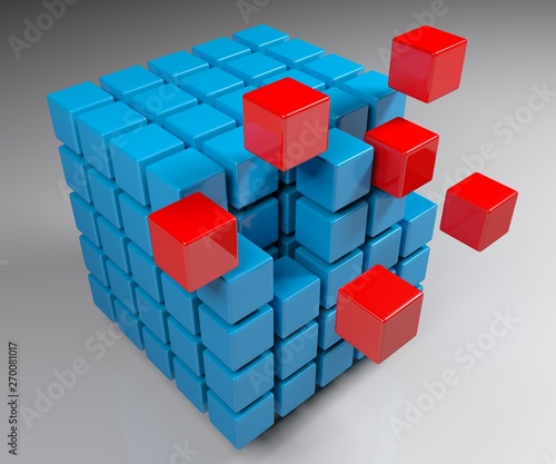 Aggregation concept cube - 3D rendering illustration Canvas Print