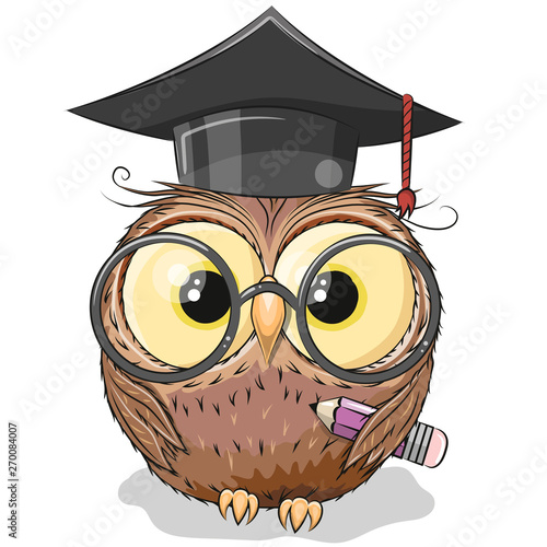 Clever owl with pencil and in graduation cap Fotomurales