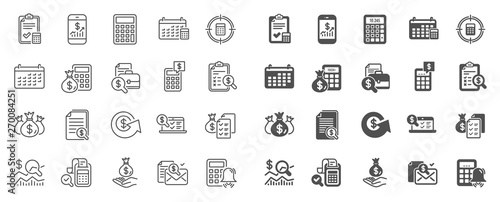 Canvas Print Accounting line icons
