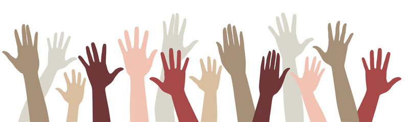 Vector set of silhouettes raised up different hands