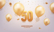 50th Anniversary celebration. 3D Golden numbers with confetti and balloons.