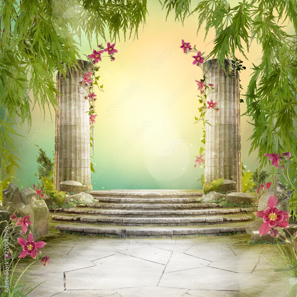 Fototapeta Beautiful magic garden landscape, fairytale mood, can be used as background