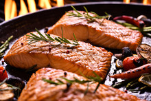 Grilled Salmon Fish With Vario...
