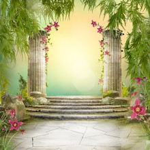 Beautiful Magic Garden Landscape, Fairytale Mood, Can Be Used As Background