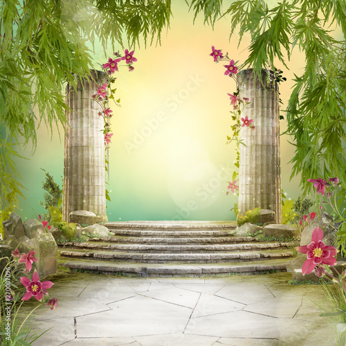Beautiful magic garden landscape, fairytale mood, can be used as background - 270087096