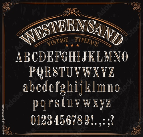 Photo Typeface, western font alphabet, numbers and signs