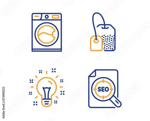 Idea, Washing machine and Tea bag icons simple set  Seo file