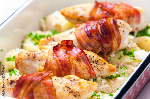 Fotografie, Obraz still life of poultry roulade with bacon