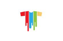 Creative T-shirt Silkscreen Logo Symbol Vector Illustration