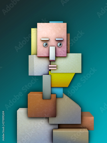 Human head made up by geometrical shapes Canvas Print
