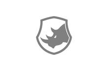 Creative Gray Rhinoceros Logo Design Symbol Vector Illustration
