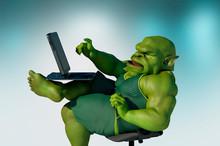 Fat Internet Troll Using A Laptop Render 3d