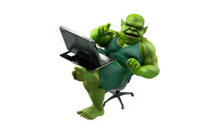 Fat Internet Troll Using A Laptop Render 3d
