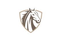 Creative Horse Shield Logo Design Symbol Vector Illustration