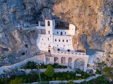 Monastery Of Ostrog Is A Monastery Of Serbian Orthodox Church Placed Against An Almost Vertical Rock Of Ostroska Greda, Montenegro, Europe. It Is Dedicated To Saint Basil Of Ostrog.
