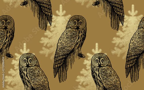 Recess Fitting Owls cartoon Owls and spruce trees. Seamless pattern.
