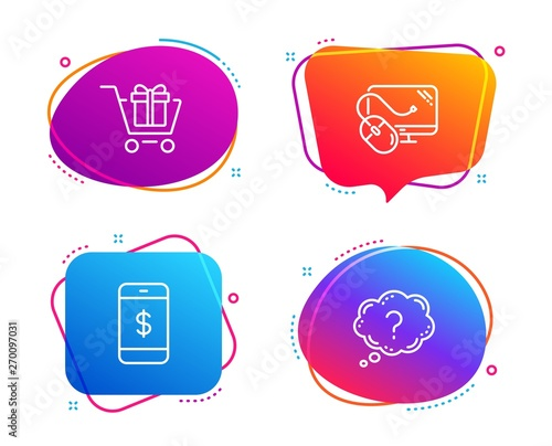 Smartphone payment, Shopping cart and Computer mouse icons