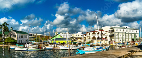 Houses and yachts at Haulover Creek in Belize City Canvas Print