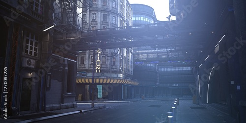 Futuristic city. Empty street with neon lights. Photorealistic 3d illustration in the style of cyberpunk. Urban landscape in a white haze.