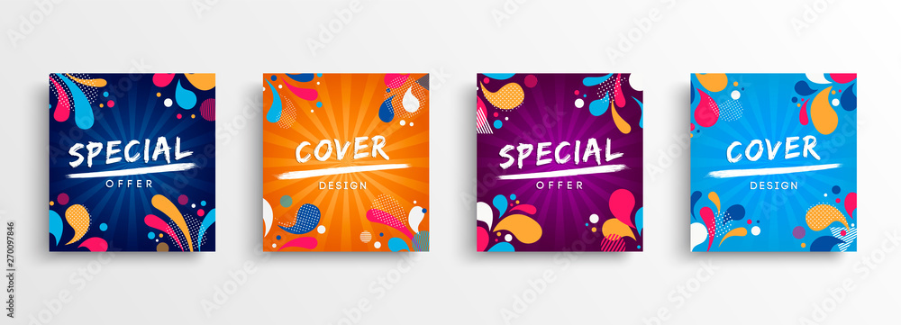 Fototapeta Sale and design background set with colorful art