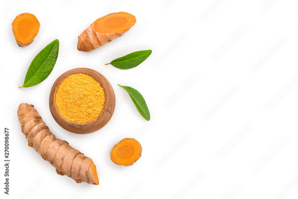 Fototapety, obrazy: Turmeric powder and turmeric root isolated on white background with copy space for your text. Top view. Flat lay