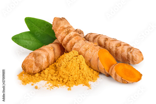 Fotografie, Obraz  turmeric root and powder isolated on white background close up
