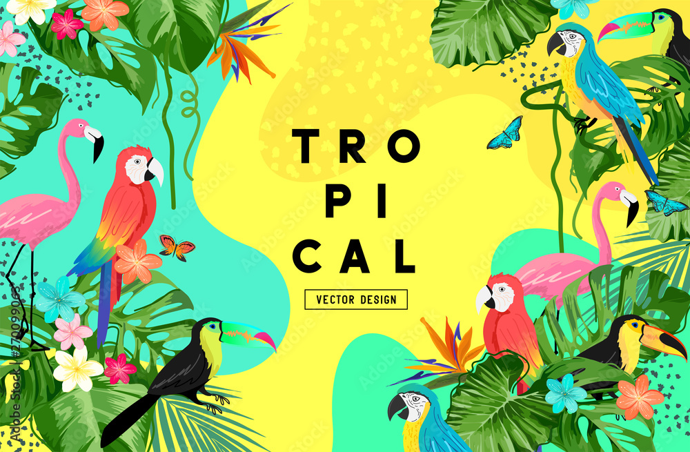 Fototapeta Exotic jungle summer background frame layout with palm leaves and tropical birds. Vector illustration