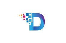 Creative D Letter Pixel Logo Design Symbol Vector Illustration