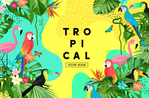 Obraz Exotic jungle summer background frame layout with palm leaves and tropical birds. Vector illustration - fototapety do salonu