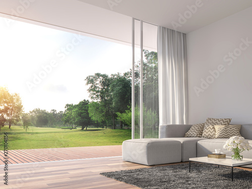Foto auf Gartenposter Pistazie Modern living room 3d render.The Rooms have wooden floors ,decorate with white fabric sofa,There are large open sliding doors, Overlooks wooden terrace and big garden.