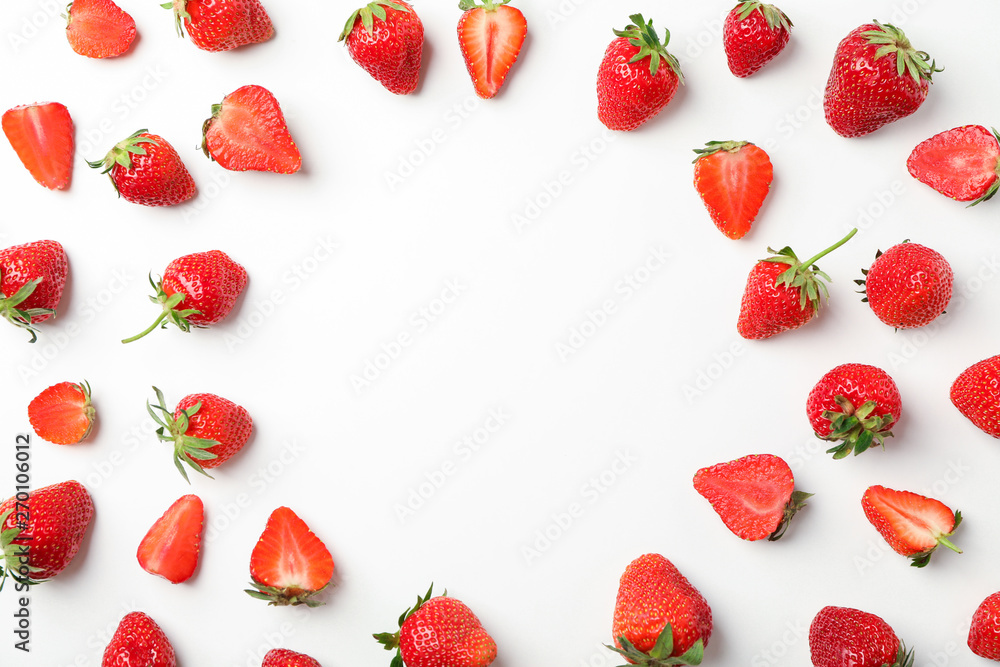 Fototapety, obrazy: Flat lay composition with strawberries on white background, space for text. Summer sweet fruits and berries