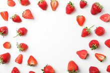 Flat Lay Composition With Strawberries On White Background, Space For Text. Summer Sweet Fruits And Berries