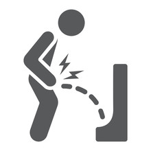 Urine Pain Glyph Icon, Body And Painful, Bladder Ache Sign, Vector Graphics, A Solid Pattern On A White Background.