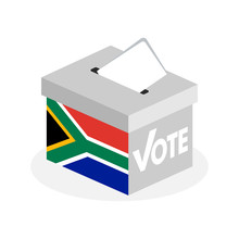 Election Ballot Box With A Combination Of South African Country Flags