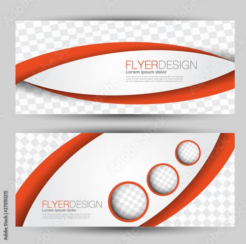 Fototapeta Flyer banner or web header template set. Vector illustration promotion design background. Orange color. obraz