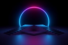 3d Render, Abstract Neon Background, Music Performance Stage, Glowing Round Shape Above Empty Fashion Podium, Stairs, Ultraviolet Spectrum, Pink Blue Laser Show