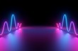 canvas print picture - 3d render, abstract background, glowing dynamic wavy lines on the floor, blue pink neon light, ultraviolet spectrum
