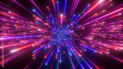 Fototapety, obrazy: 3d render, big bang, galaxy expanding, abstract blue red cosmic background, celestial beauty of universe, speed of light, fireworks, neon glow, cosmos, ultraviolet infrared light, outer space stars