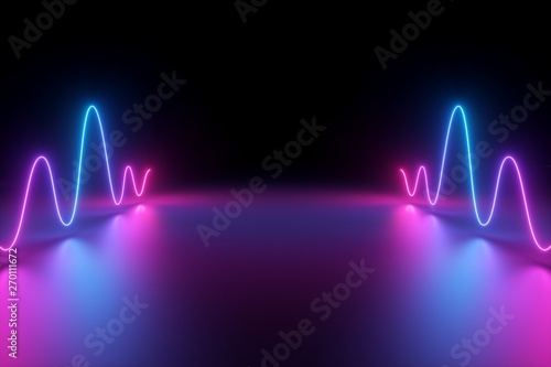 3d render, abstract background, glowing dynamic wavy lines on the floor, blue pink neon light, ultraviolet spectrum
