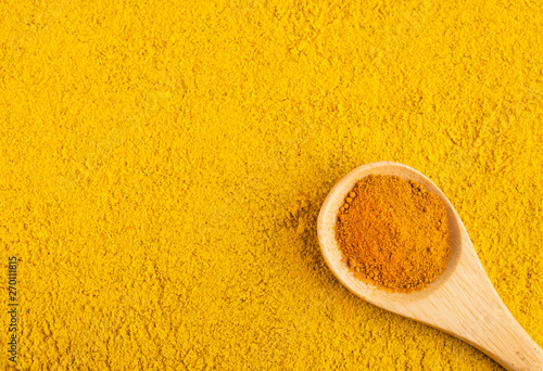 Fototapeta Turmeric and curry organic powder - Top view obraz