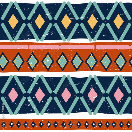 Принти на полотні Ikat geometric folklore seamless pattern